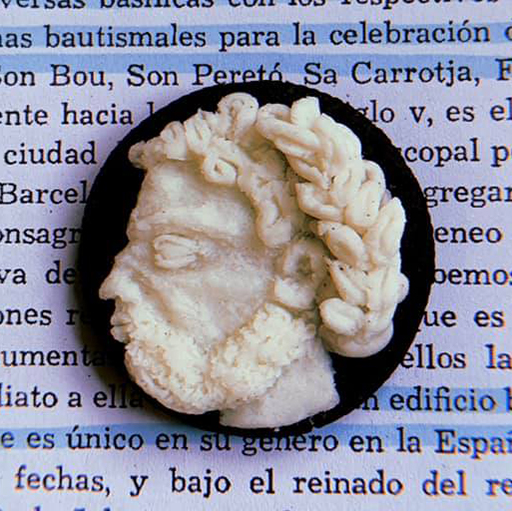 Oreo cookie, with a side-view portrait of a mans head carved into the filling.